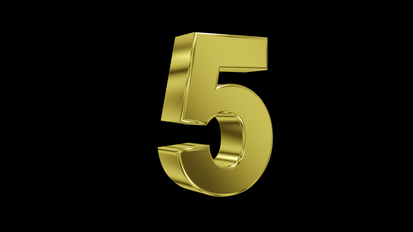 Number 5 on transparent background in gold, with looping animation, 3d render, prores 4444 | Shutterstock HD Video #1046486047