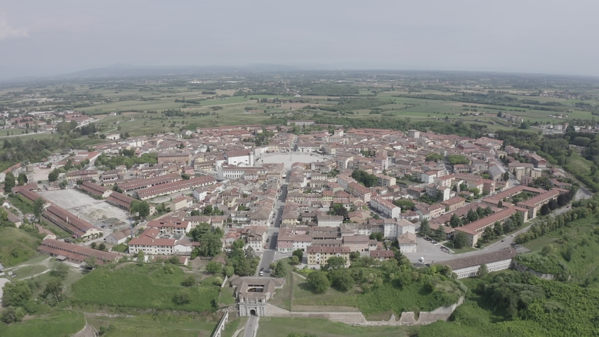 D-Log. Palmanova, Udine, Italy. An exemplary fortification project of its time was laid down in 1593, Aerial View | Shutterstock HD Video #1046734057