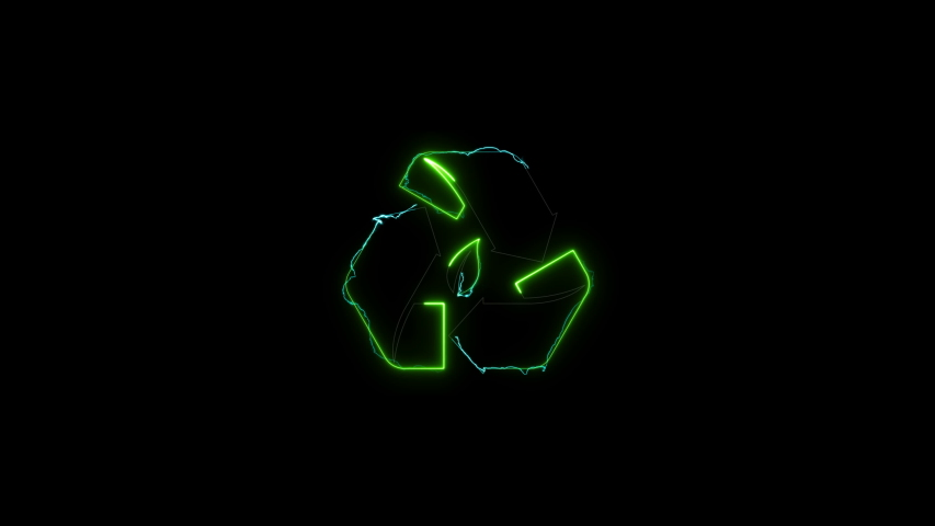 Animation of a symbol of recycling on black background with. Screen mode. | Shutterstock HD Video #1046841607