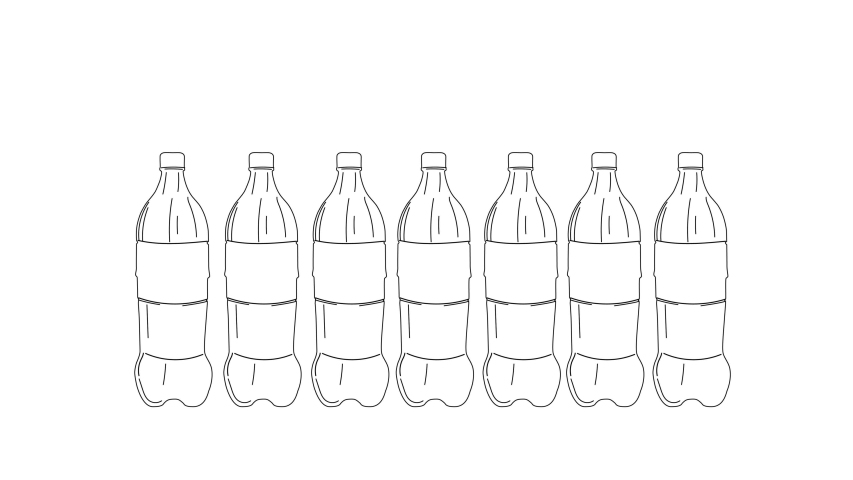 Plastic bottles hand drawn sketch animation. Concept of sustainable consumption. Copy space. | Shutterstock HD Video #1046890687