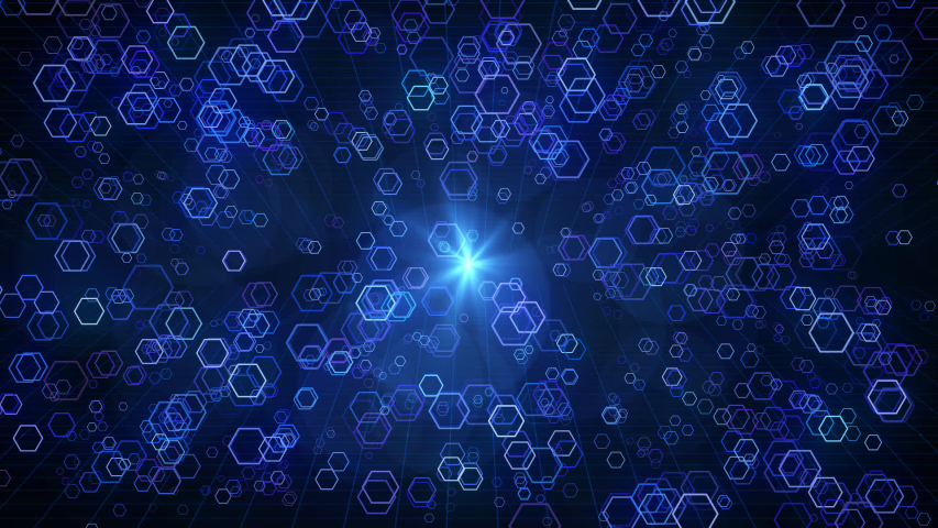 Full HD animation Blue Hexagon shape fly through space footage for scientific films . | Shutterstock HD Video #1046898517