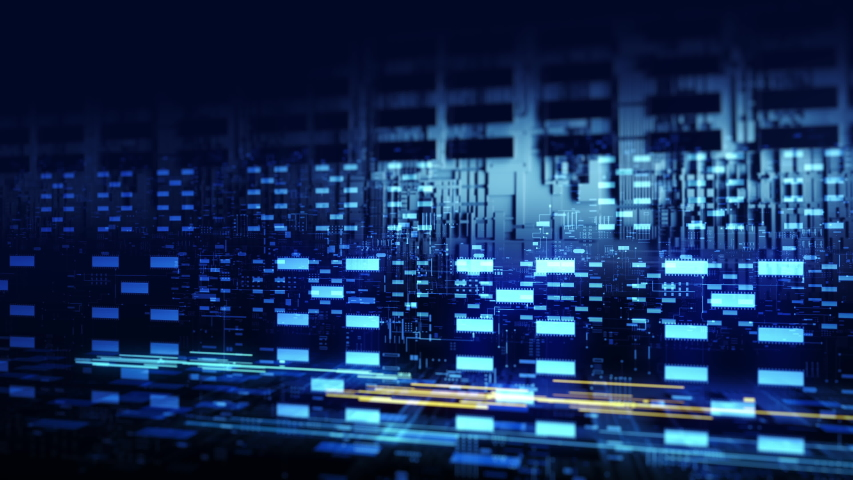 Code processing in circuit board abstract server. Data moves in the form of moving lines. The movement and processing of data inside a server or computer. 3d rendering   Shutterstock HD Video #1046902927