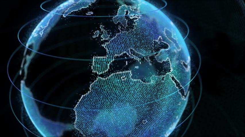 BIG DATA 3D EARTH Hologram. Earth rotating animation social future technology abstract business scientific growth network surrounding planet earth rotating. | Shutterstock HD Video #1046977777
