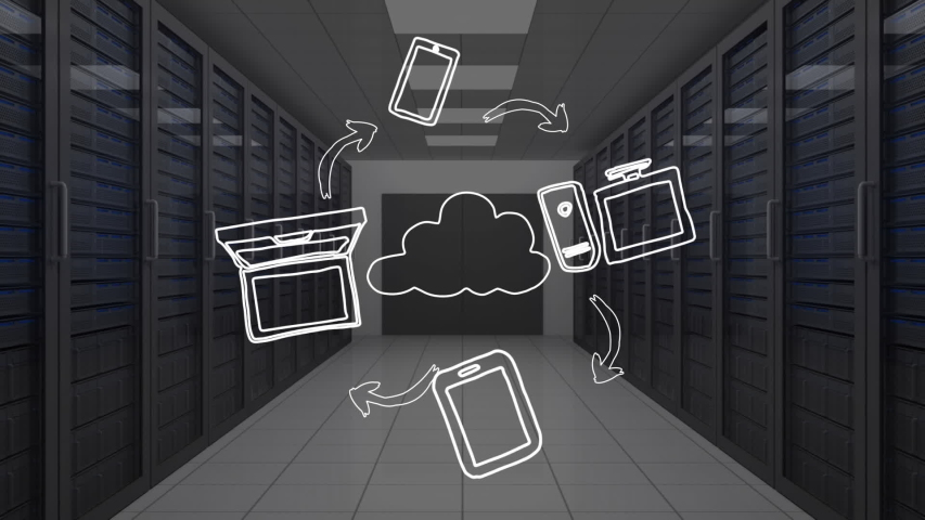Animation of network of connections cloud computing with cloud, arrows and computer icons, computer processor tech room in the background. Global network of connections and communication cloud | Shutterstock HD Video #1046979007
