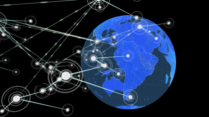 Animation of network of links of connections with digital blue globe in the background. Global networking and connections concept digitally generated image. | Shutterstock HD Video #1046980237