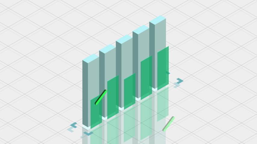 3D animation of 2D vector bar graph chart showing data visualization and information. 4K pastel colors fit in to you corporate presentation.  | Shutterstock HD Video #1047026587
