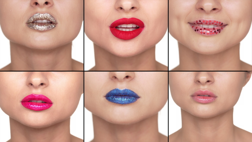 Split collage close-up women lips with colourful lipstick smiling flirty, glamour appearance. Fashion makeup and sensuality concept. Girls shushing, press index fingers to lips to hide secret | Shutterstock HD Video #1047038767
