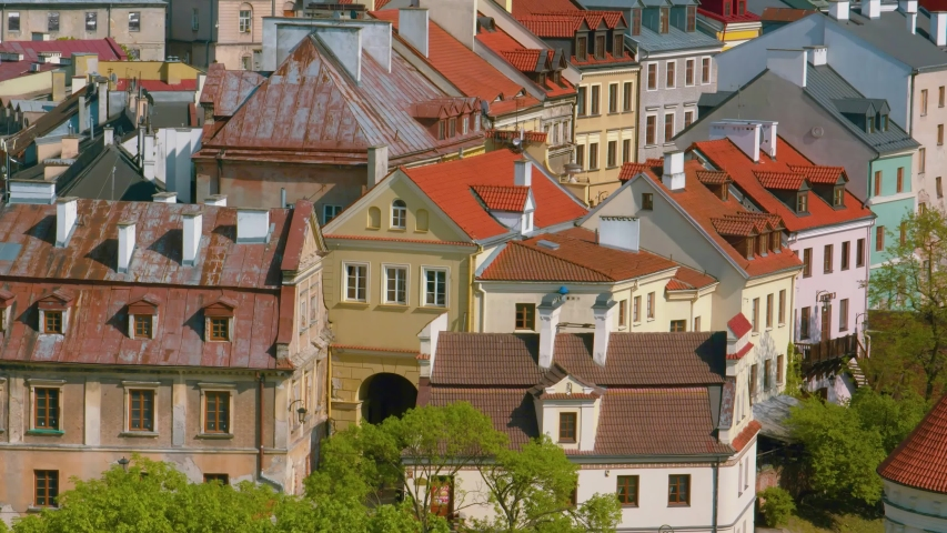 Summer panorama of city of Lublin in Poland, Europe - high quality stock footage   Shutterstock HD Video #1047154927