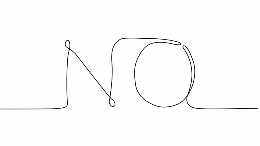 Self drawing animation of continuous one line drawing of word No. | Shutterstock HD Video #1047233167