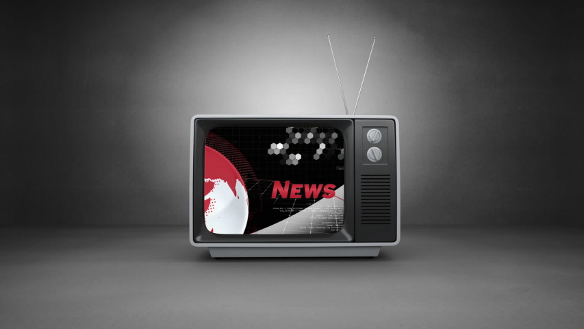 Animation of the news screen with the word News written in red, red and white digital globe rotating, information processing displayed on vintage television set on grey background. Global technology | Shutterstock HD Video #1047240037