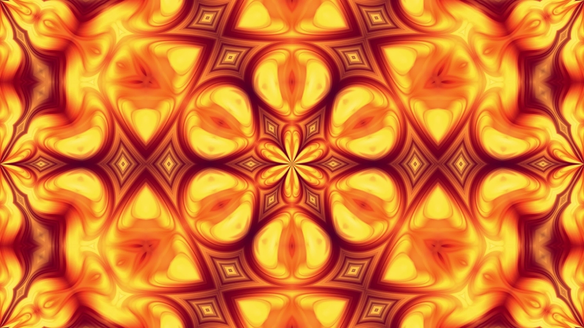 4k seamless loop abstract background with pattern ornament in form of red-yellow flower made of flowing gradients. Smooth animation.    Shutterstock HD Video #1047341947