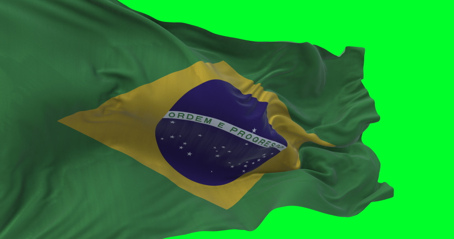Brazilian national flag waving and blowing in strong wind. slow motion loop video over green screen. High quality textures loopable video | Shutterstock HD Video #1047815737