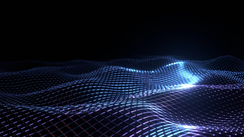 Futuristic grid wave of purple blue digital wire frame mesh. Seamless loop animation on dark with dim light background. Flow particles landscape. For cyber technology, sound visualization, big data | Shutterstock HD Video #1048451557