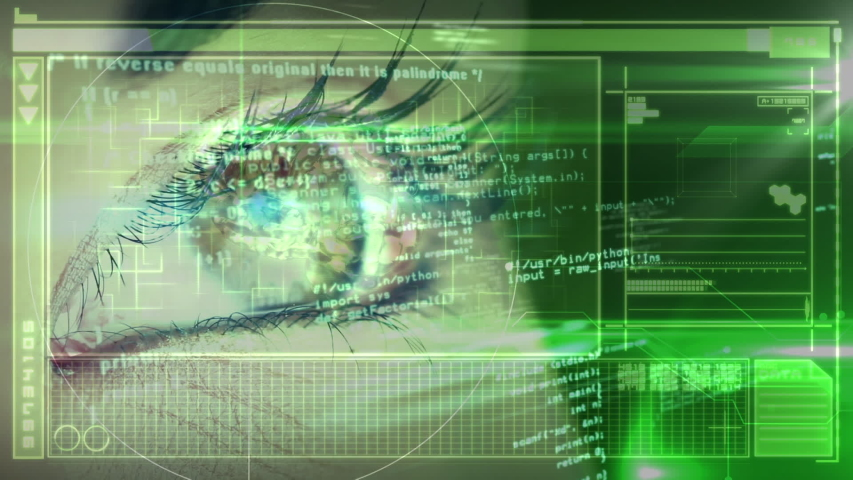Animation of close up of human eye with globe processing, medical data processing on green background. Medicine neurology and global scientific data processing concept digitally generated image. | Shutterstock HD Video #1048692067