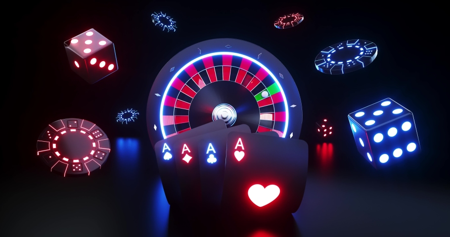 Casino Gambling Concept With Futuristic Neon Lights - 3D Motion Graphics | Shutterstock HD Video #1049014267