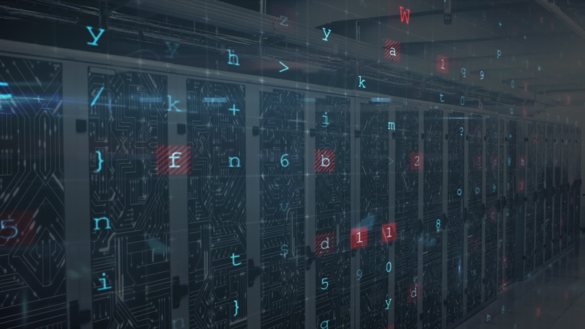 Animation of words Access Denied, Malware Detected, Scanning, data processing and digital information flowing through network of computer servers in a server room with light trails flashing on | Shutterstock HD Video #1049361907