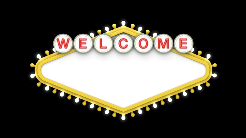 Welcome sign in classic retro las vegas style design . 3D Render | Shutterstock HD Video #1049445127