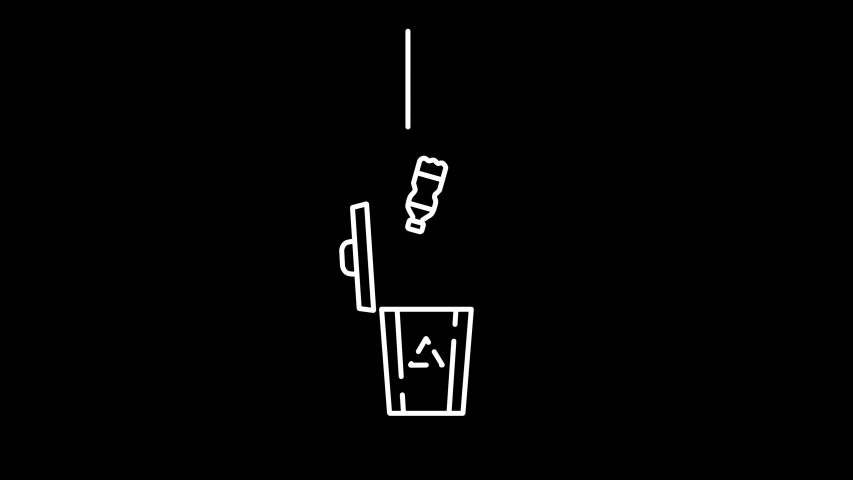 Plastic bottle thrown to the recycle bin. Stylized info-graphic animation. White on black   Shutterstock HD Video #1049500087