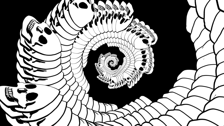 Seamless animation of swirl of psychedelic skulls printed drawn style cartoon. Hypnotic halloween background with marker stroke effect in black and white. | Shutterstock HD Video #1049505577