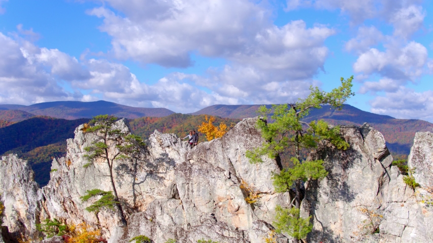 Hikers on Seneca Rocks, West Virginia, Aerial Drone View | Shutterstock HD Video #1049616487