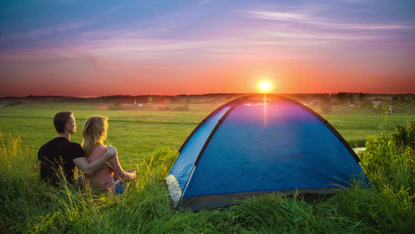 5 In 1 Video! The Pair Sit Lie In The C&ing Tent By Sky And Bonfire Background. Shot With Red Cinema Camera Stock Footage Video 10509737 | Shutterstock & 5 In 1 Video! The Pair Sit Lie In The Camping Tent By Sky And ...