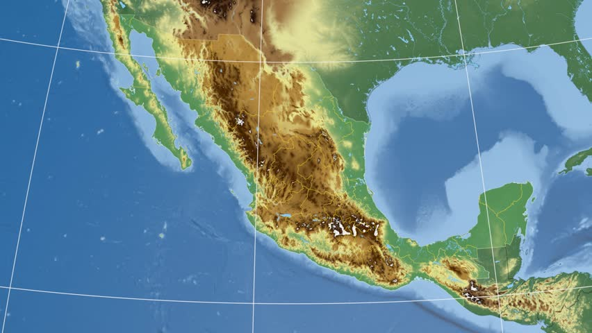 Queretaro State Extruded On The Physical Map Of Mexico Rivers And - Physical map of mexico