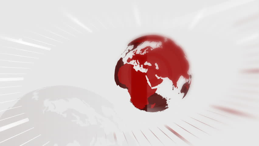 Animated globe rotating, red and white news intro