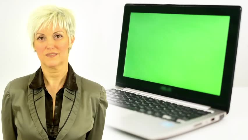 Business middle aged woman smiles - notebook - green screen - isolated | Shutterstock HD Video #10606937