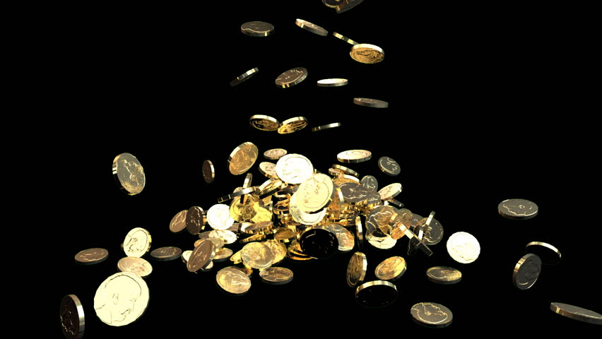 Gold coins fall against black background. Treasure. Business success.