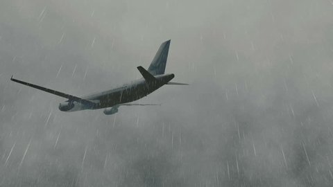 Passenger plane flying through a dramatic stormy sky with lightnings. Realistic three dimensional animation.
