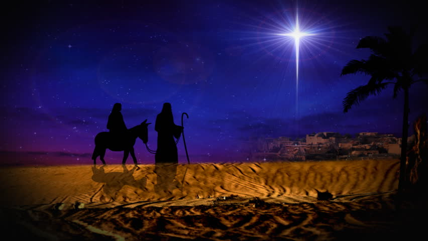 joseph and mary on donkey silhouette following christmas