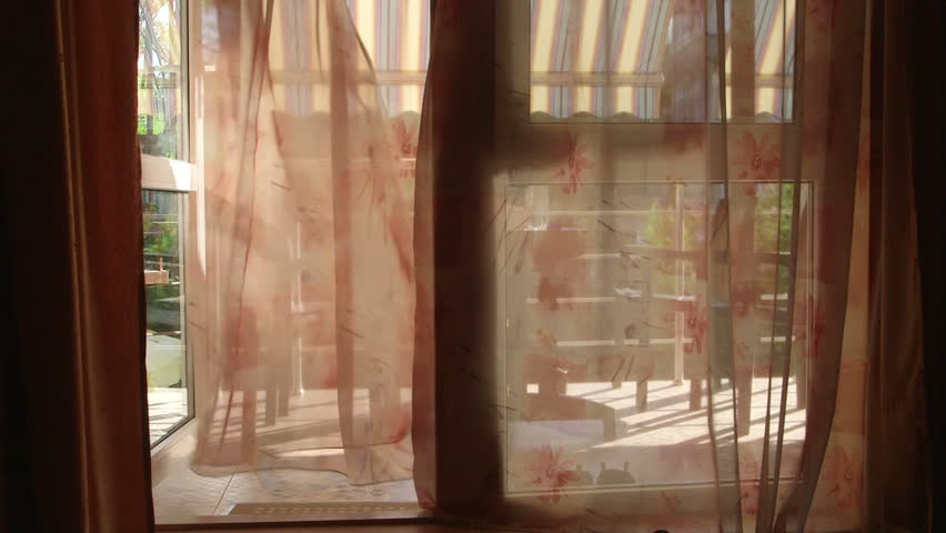 Stock Video Clip Of Looking Out Through Open Glass Door Window
