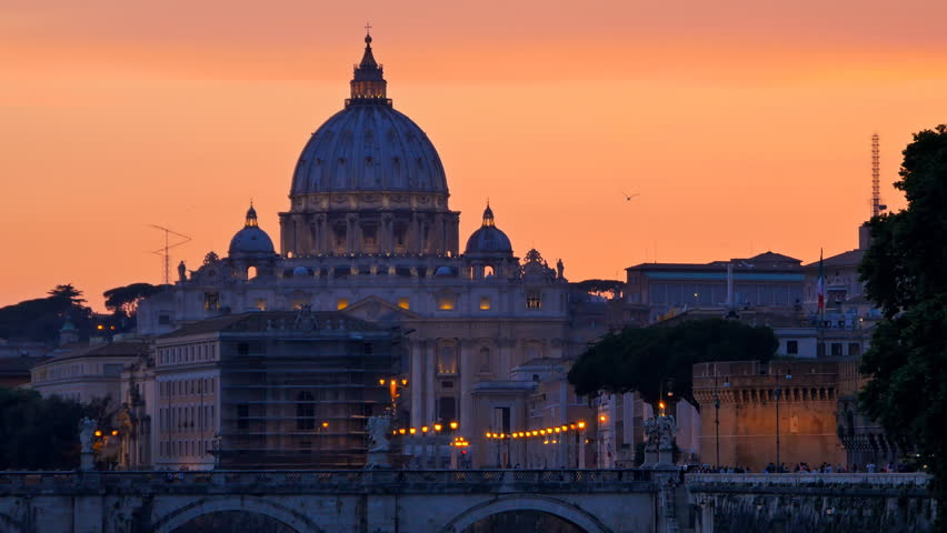 St.peter basilica and sant'angelo bridge at the sunset warm colors | Shutterstock HD Video #10663577