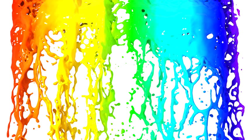 Rainbow falling on White background, HD 1080. With alpha channel.