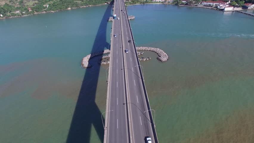 Aerial View of Third bridge (Terceira Ponte) in Vitoria, Vila Velha, Espirito Santo, Brazil