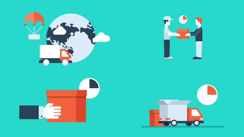 Flat style animated concept icons set of delivery service. Truck with open box container, hourglass and timer. Package in hands. Globe with parcel.