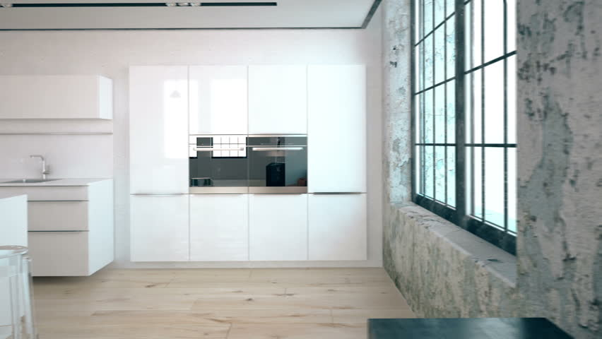 3d rendering of a kitchen in a industrial loft