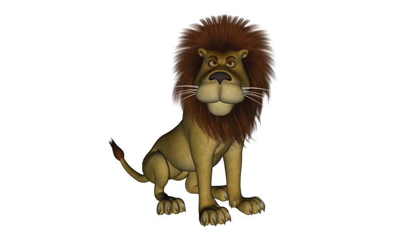5 Seconds Long Clip Of A Cartoon Lion That Is Roaring While Sitting Down Isolated On White Stock Footage Video 1070965