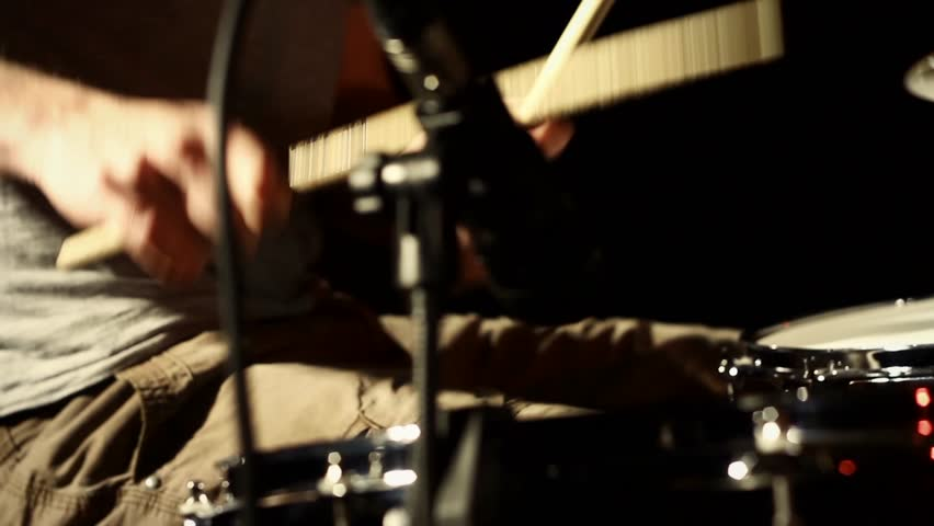 Anonymous Drummer Drumming on Stage - Close Up 2