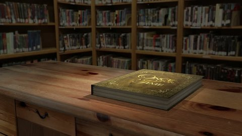 """3D Storybook Animation –""""A 3d animated storybook on a table opens to blank pages, allowing you to overlay your own photos, graphics or text. """""""
