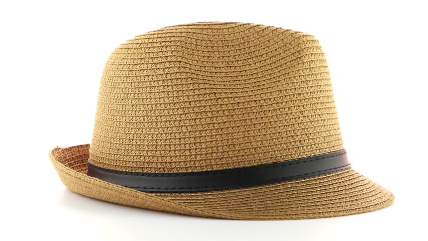 c85d4f92 Straw Hat Isolated On White Stock Footage Video (100% Royalty-free ...