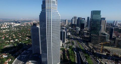 Airview of Istanbul Skyscapers - 4k