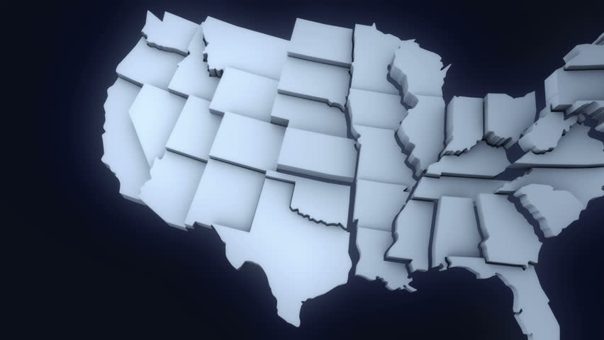 Animated Mainland USA Map Various States Coming Into The Screen - Us map isolation