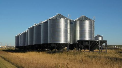 Grain storage silos in Wymark, Saskatchewan, Canada.