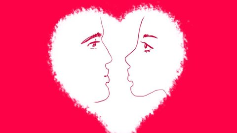 Heart and Arrow Whiteboard Stop-Motion Style Animation. Romantic relationships girl with a guy. Love couples love the people of the clip.  painted heart red background. Looking to kiss lovers