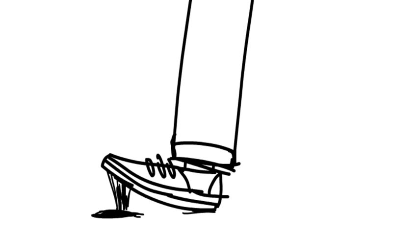 Chewing gum stuck to the shoe. Cartoon animation. Hand drawn.