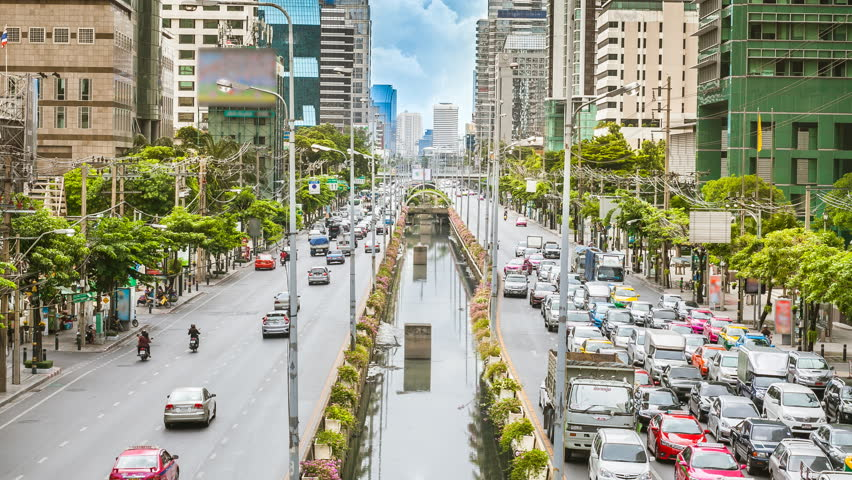 Central business traffic, Bangkok city day time lapse | Shutterstock HD Video #10828595