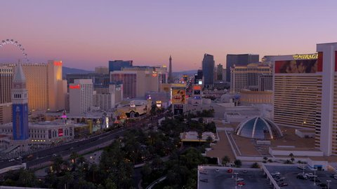 Las Vegas, Nevada - March, 2015: Aerial pan of Las Vegas skyline at sunrise.