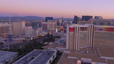 Las Vegas, Nevada - March, 2015: Aerial pan of Las Vegas skyline at sunrise.