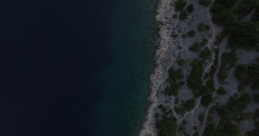 Texture of coast, shore, water and vegetation. Drone moves to the side slowly. Dalmatian coast, Croatia. Bay. | Shutterstock HD Video #10868294